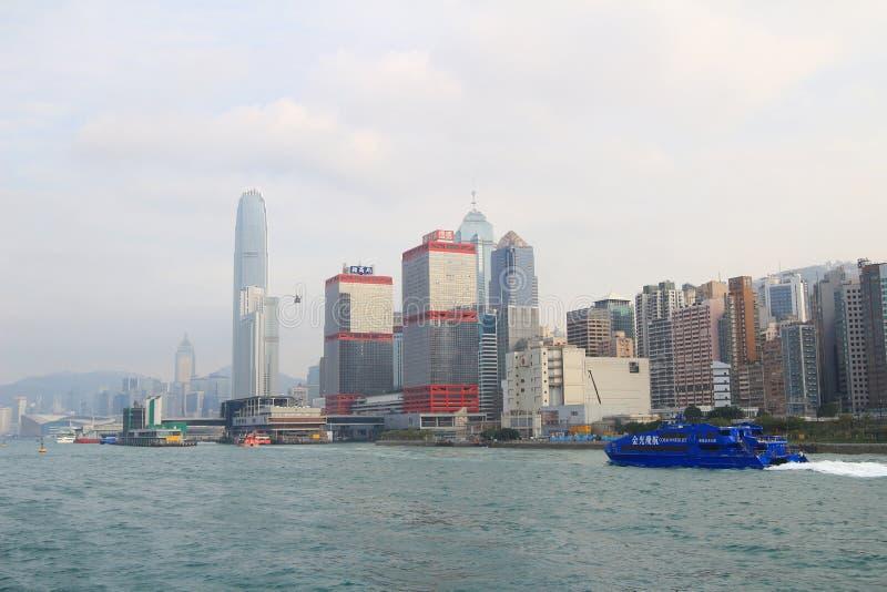 Macao to Hong Kong ferry boats in Hong Kong harbor. The Macao to Hong Kong ferry boats in Hong Kong harbor royalty free stock photo