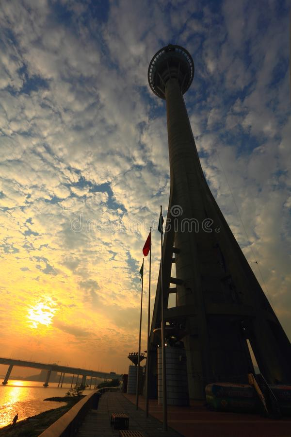Macao-Turm am Abend stockfoto
