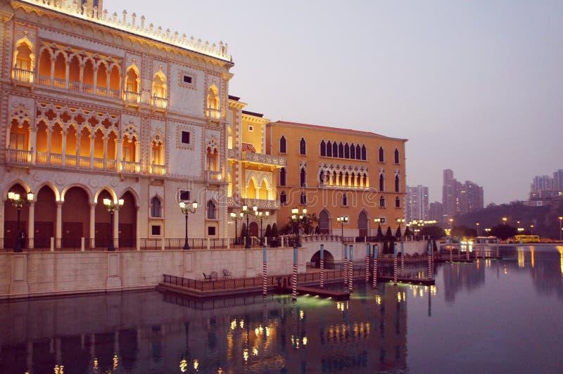 Macao Venetian kasinodoges semesterort för kopia för slott vid afton arkivbilder