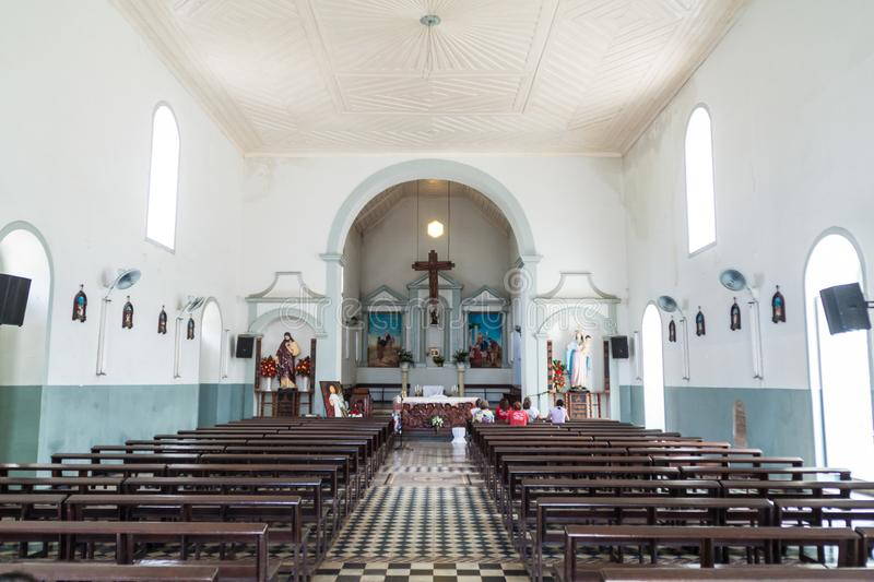 MACAPA, BRAZIL - JULY 31, 2015: Interior of Sao Jose Saint Joseph church in Macapa, Braz. Il stock photography