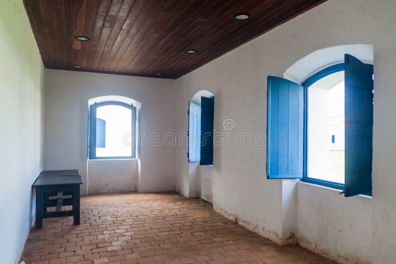 MACAPA, BRAZILIË - JULI 31, 2015: Binnenland van één van gebouwen in St Joseph vesting in Macapa, Braz stock foto