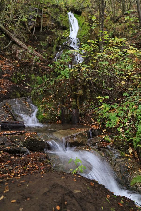 Macarena Waterfall in Tierra del Fuego National Park, on the Route of TRAIN OF THE END OF THE WORLD, Patagonia, Argentina stock images
