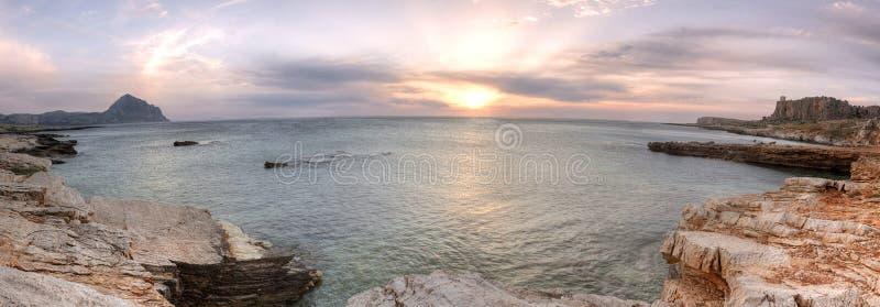 Macari beach surprised at sunset, Sicily, Italy royalty free stock photos