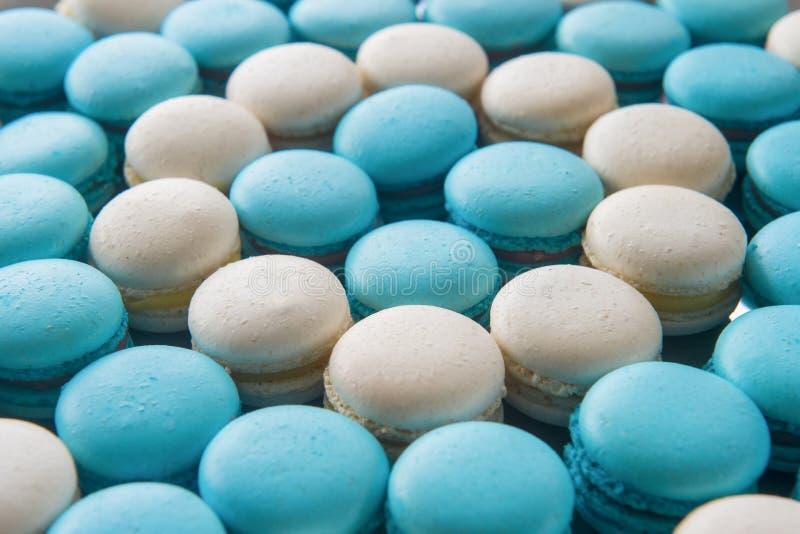 Macaron法国沙漠背景 许多白色和蓝色蛋白杏仁饼干 免版税图库摄影