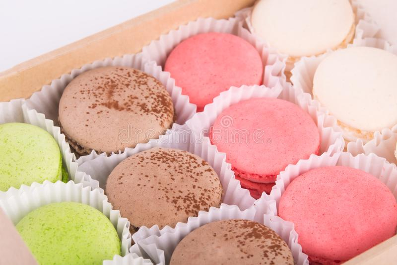 Macaron in a box of cookies of different tastes royalty free stock image