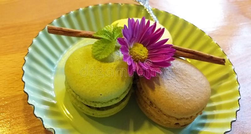 Macaron candy decorated with flowers. stock photos