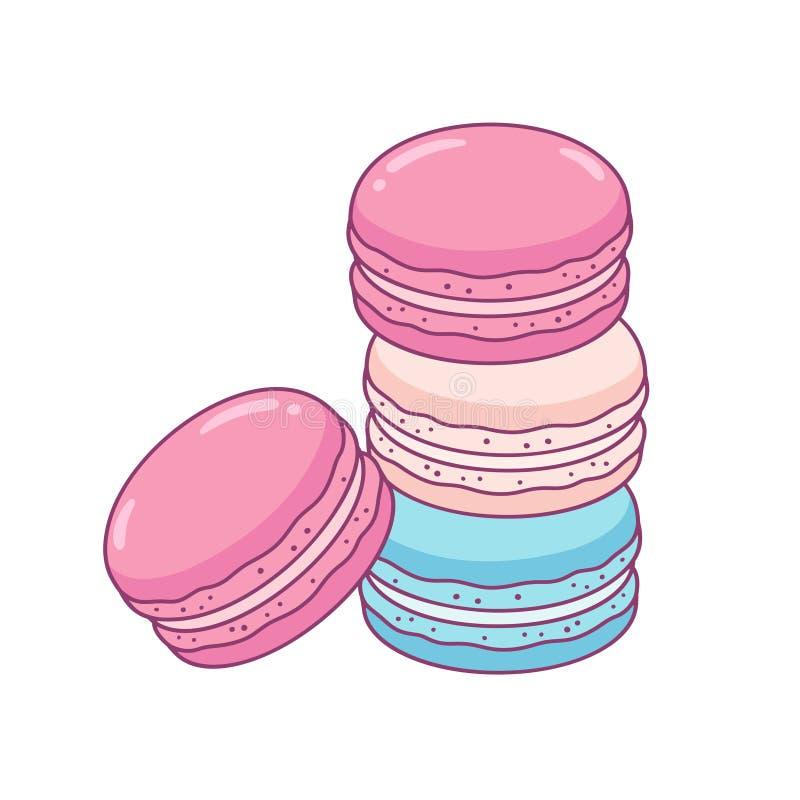 Macaron ciastek rysować royalty ilustracja