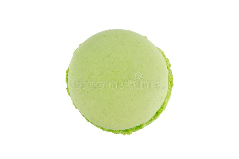 Macaron cookie green apple of color, on white background royalty free stock images