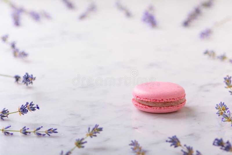 Macaron cor-de-rosa na tabela branca e nos ramos de mármore da alfazema apresentados em torno do macaron com espaço da cópia fotos de stock royalty free
