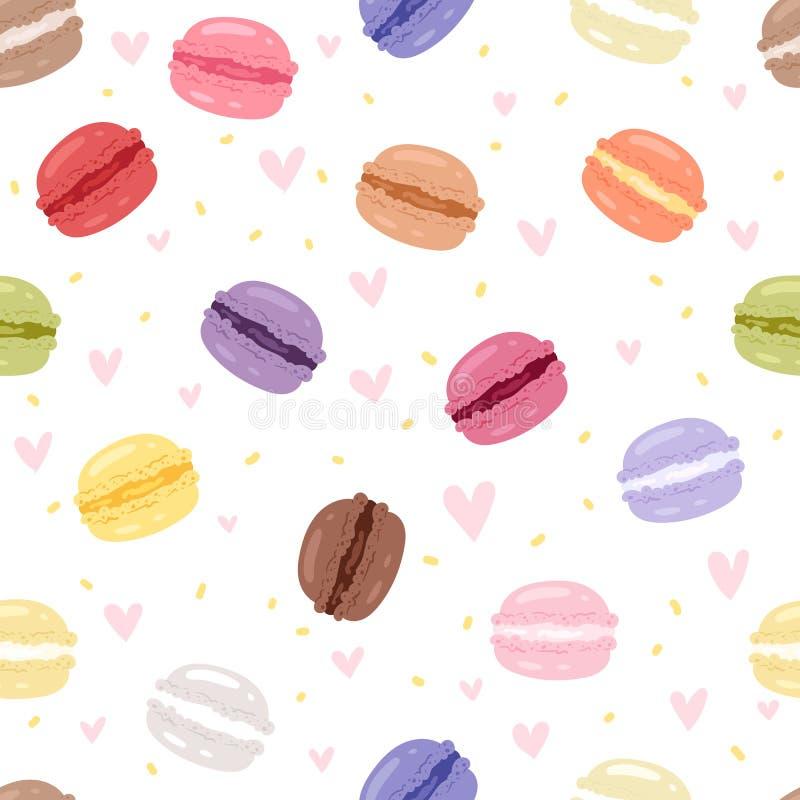 Macaron différent figé s de couleurs de gâteau savoureux de Macarons avec le fond sans couture de modèle d'illustration de vecteu illustration de vecteur