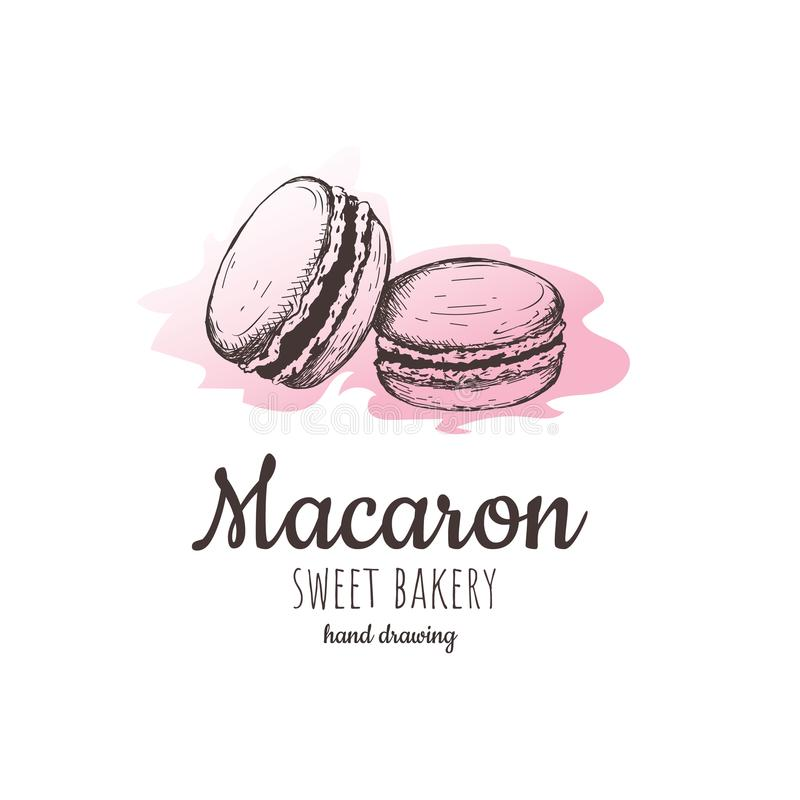 Macaron, gâteaux d'amande de macaron, croquis de macaron illustration libre de droits