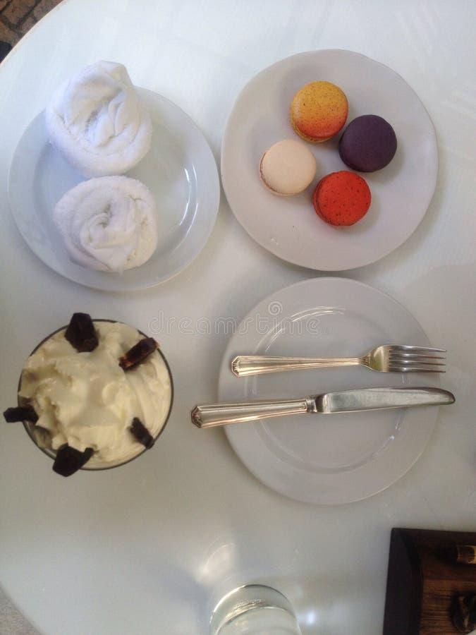 Macaron with ice cream royalty free stock photography