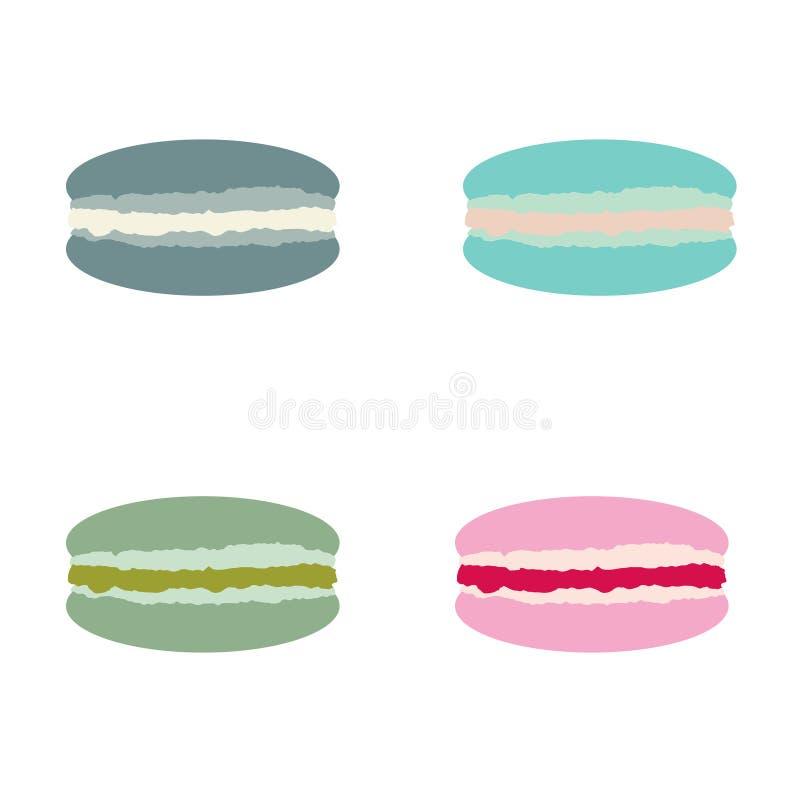 Macaron, macaroon ilustracji set Kolorowi migdałowi ciastka ilustracji