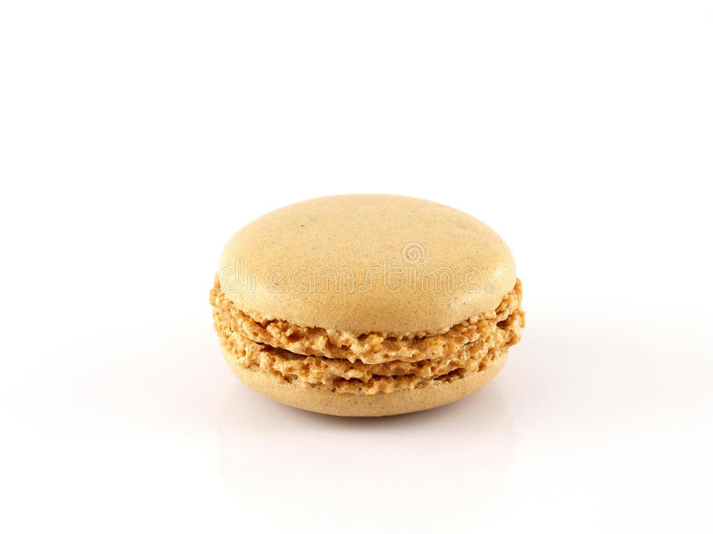 single coffee flavored macaron (macaroon) isolated on white background royalty free stock image