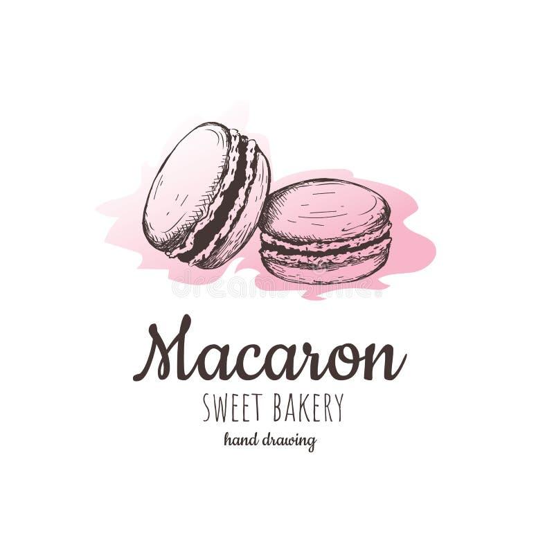 Macaron, macaroon migdału torty, macaron nakreślenie royalty ilustracja