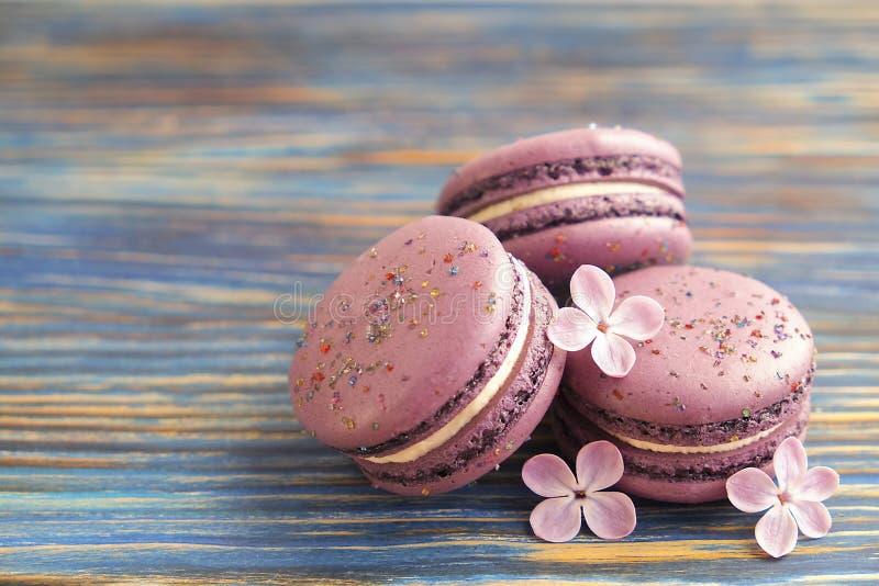 Macaron o coockie francese del maccherone su fondo blu scuro con i fiori porpora, colori pastelli Disposizione piana Concetto del immagini stock libere da diritti