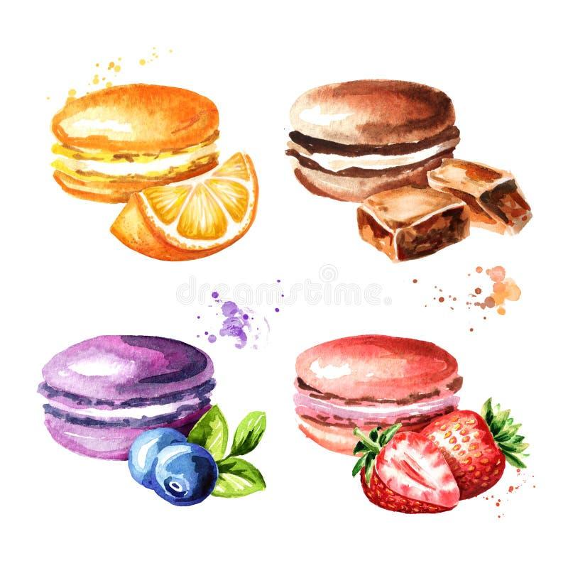 Macaron o macarrones tradicionales, galletas coloridas de las tortas del francés fijadas Ejemplo dibujado mano de la acuarela ilustración del vector