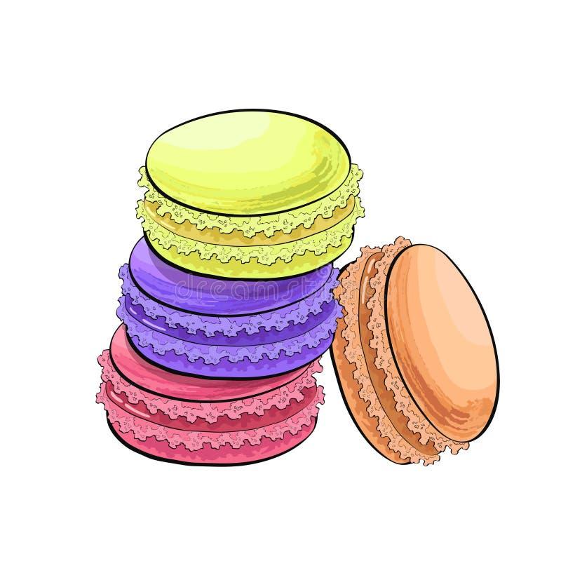 Macaron ou g?teaux de biscuits de macaron, illustration de vecteur de croquis d'isolement sur le fond blanc Dessin r?aliste de ma illustration libre de droits
