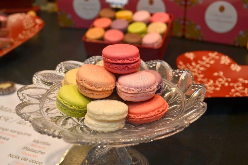 Macaron Paris Frankrike royaltyfria foton
