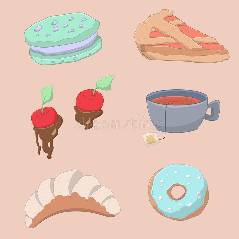Collection of yummy sweet food and drinks stock illustration
