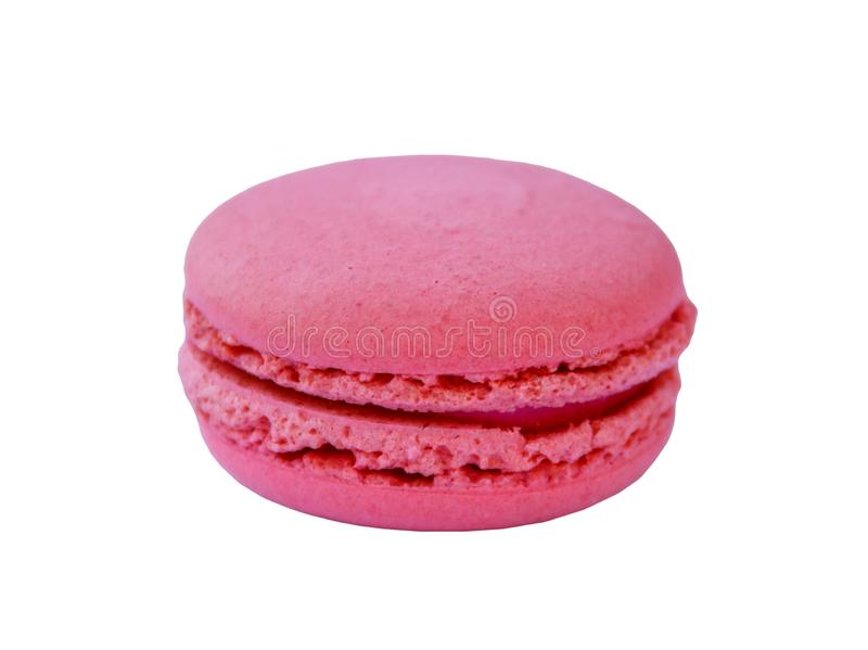 Macaron rose savoureux sur le fond blanc images libres de droits