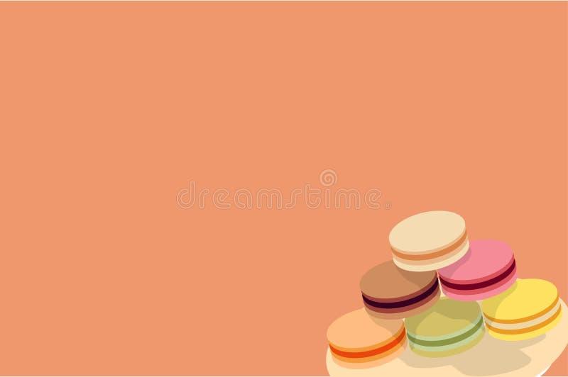 Macaron sur un papier peint de fond de plat photographie stock libre de droits