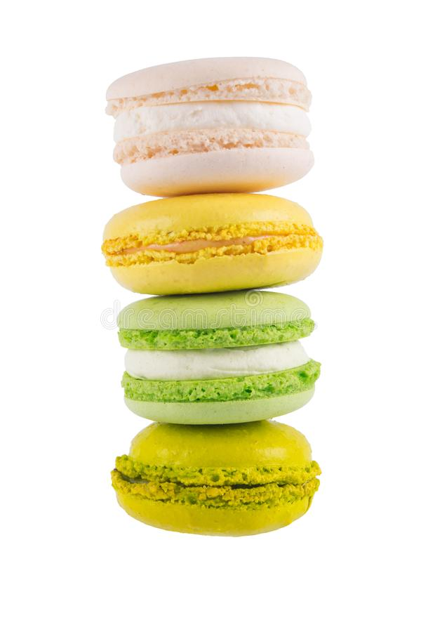macaron tower of dessert biscuit biscuits, on white stock photography