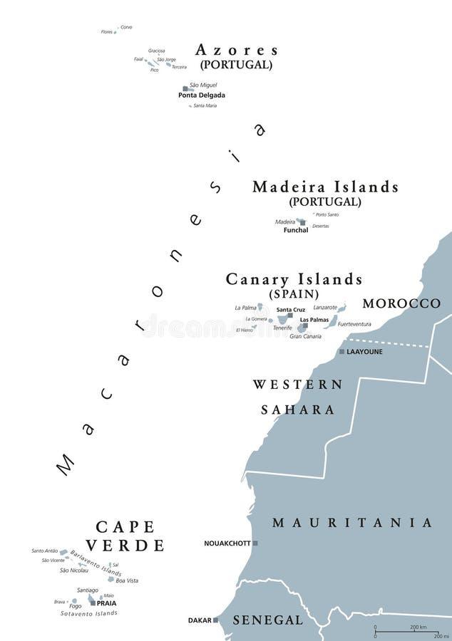 Macaronesia Mapa Cinzento Acores Cabo Verde Madeira Ilhas