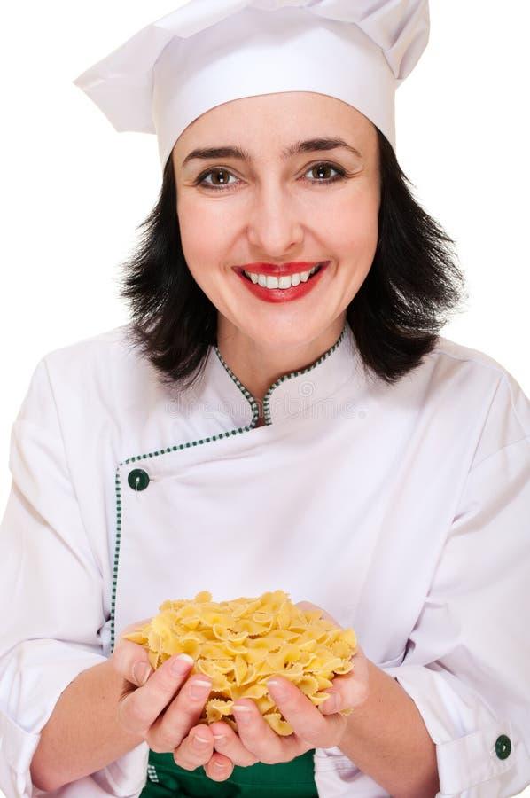 macaroni εκμετάλλευσης χουφτών αρχιμαγείρων γυναίκα στοκ εικόνα