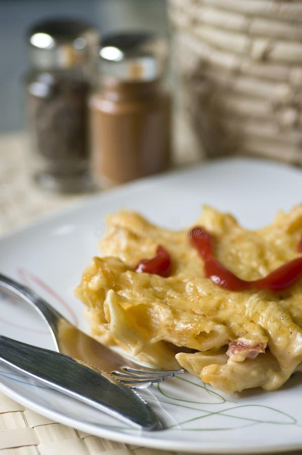 Macaroni και τυρί με το ζαμπόν στοκ φωτογραφίες με δικαίωμα ελεύθερης χρήσης