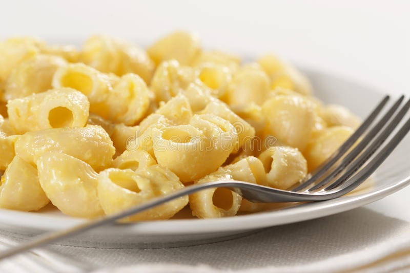Macaroni and cheese. In the plate stock photos