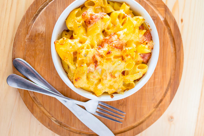 Macaroni. With cheese and bacon royalty free stock image