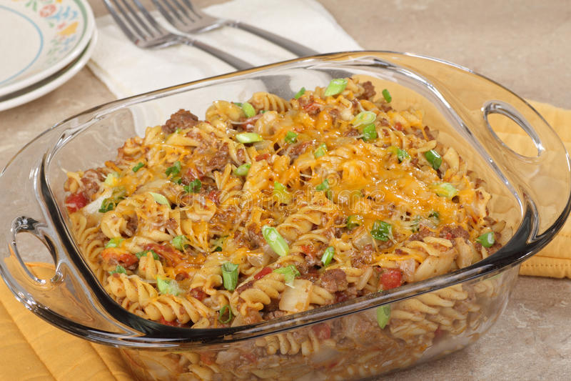 Macaroni and Cheese Casserole. In a glass baking dish stock photos