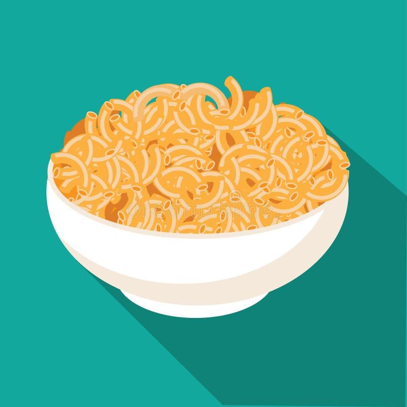 Macaroni and cheese flat design royalty free illustration