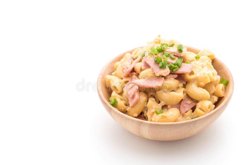 Macaroni cheese and ham. On white background royalty free stock images