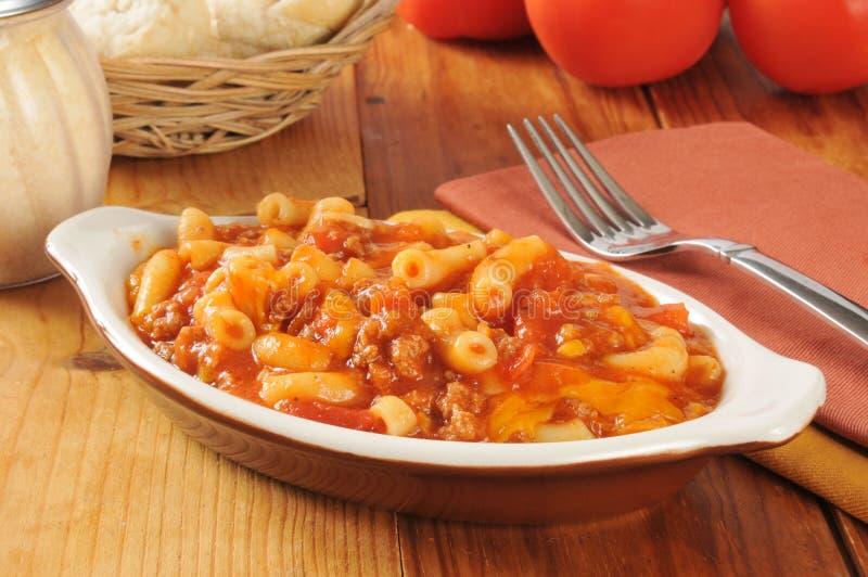 Macaroni en rundvlees royalty-vrije stock afbeeldingen