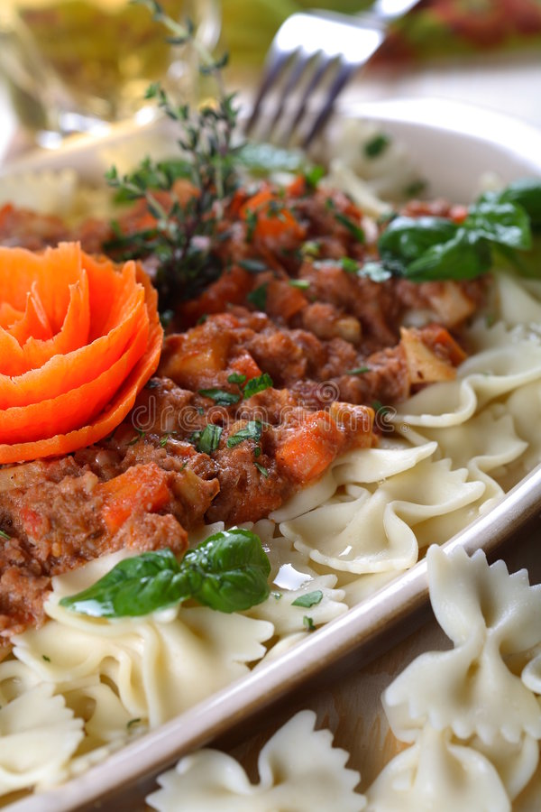 Macaroni with mince royalty free stock photography