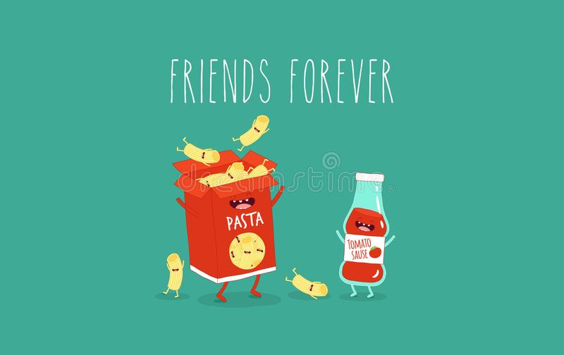 Macaroni och ketchup vektor illustrationer