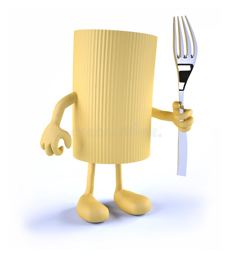 Macaroni pasta with arms, legs and fork on hand stock illustration