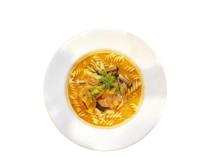 Macaroni spicy soup with seafood. Close-up on a thai menu, macaroni spicy tom yam kung stock images