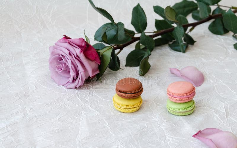 Macaroni, sweet and colorful french sweets stock photos
