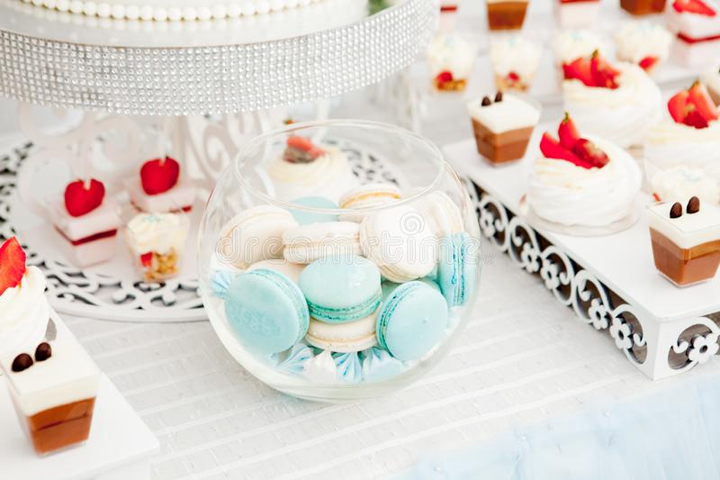 Macaroni on a sweet table. Many delicious sweets and beauty on the table to celebrate.  stock image