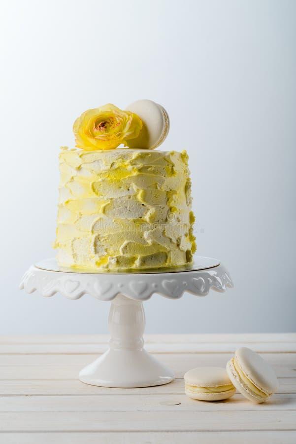 Macaroni sweets and bright cake stock photo