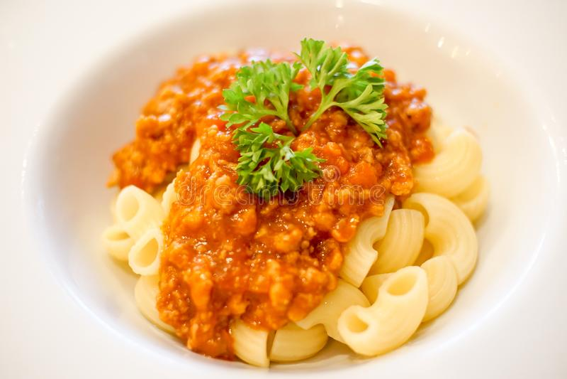 Macaronis en gros plan avec la sauce tomate images libres de droits