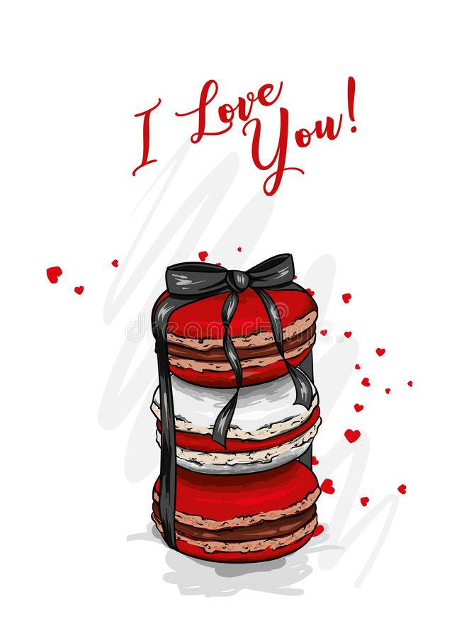 Macarons με τα καρδιά-διαμορφωμένα μπαλόνια Επιδόρπιο Διανυσματική απεικόνιση για τη ευχετήρια κάρτα ή την αφίσα Αγάπη, φιλία, ημ απεικόνιση αποθεμάτων