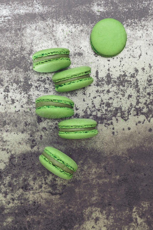 Macarons зеленого чая Spirulina стоковая фотография rf