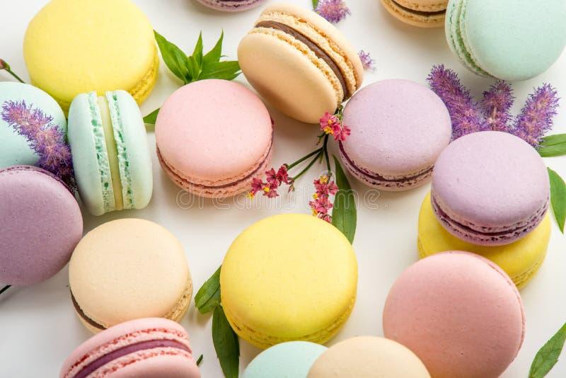Macarons colorés avec des feuilles et des fleurs rouges sur un fond blanc Dessert sensible français images libres de droits