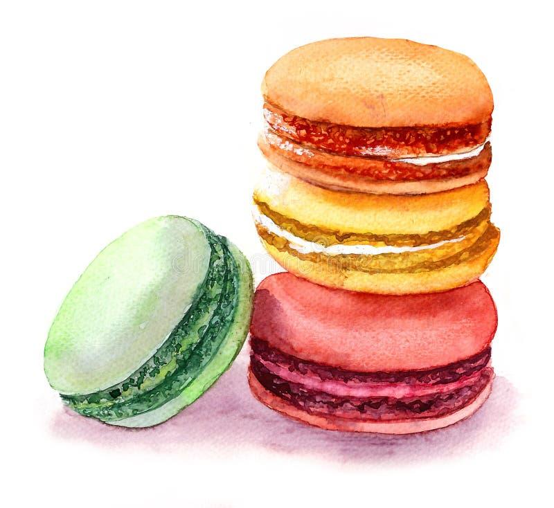 Macarons colorés mignons Image de nourriture d'aquarelle illustration stock