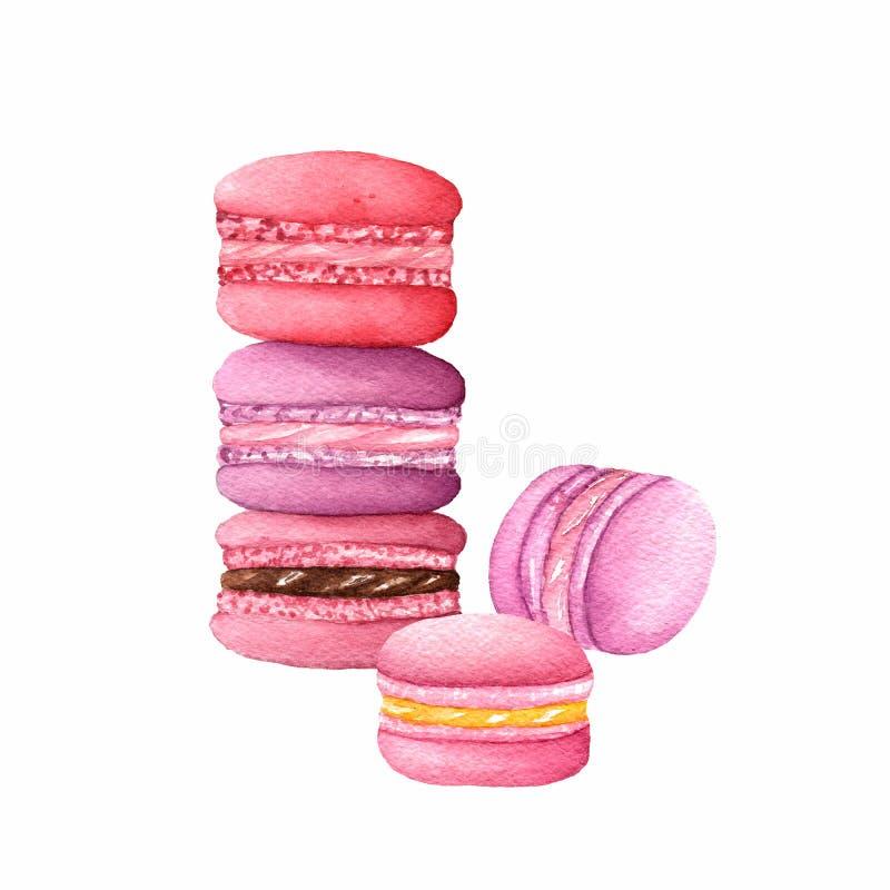 Macarons da aquarela em cores roxas, vermelhas e cor-de-rosa imagens de stock royalty free