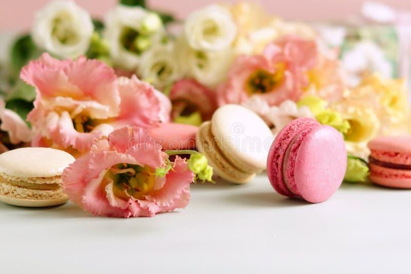 Macarons dans des couleurs en pastel avec des fleurs sur un pâle - fond rose Fond de vacances photos libres de droits